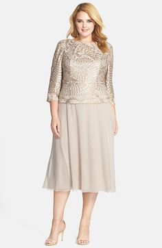 Alex Evenings Draped Back Tea Length Mock Two-Piece Dress (Plus Size) available at #Nordstrom