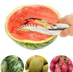 LJJL337 Utensils Slicy Watermelon Fruit Slicer Splitter Cutter Server Corer Scoop Stainless Steel Cantaloupe Cutting 2.6*24.3cm
