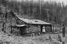 "North American Settlers, 1800s - Retronaut / Pa would bang his head on the roof. The ""barn"" is a tarp covered spot beside the house. Note the *wooden* fireplace."