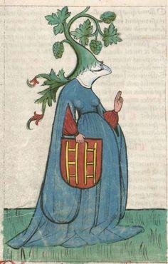 Bayerische Staatsbibliothek, BSB Clm 3003, image 106 (Humility). Speculum salvationis humanae metrice cum figuris pictis. Pugna virtutum et vitiorum cum figuris pictis. 14th century.