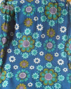 Vintage Retro 60s 70s Blue + Green Floral Curtains + material Camper Van Kitsch | eBay