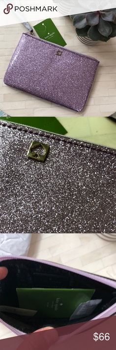 """Kate Spade Sparkling Wristlet Wristlet in sparkling patent pvc. Front gold cut-out spade Zip top. Lined. 4.5""""h x 6.5""""w x .25""""d kate spade Bags Clutches & Wristlets"""