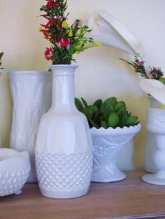 Spray painted milk glass. Maybe a good idea, I hate the crystally glass...idk how it would turn out...babble.