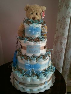 Baby boy diaper cake...you can't tell from the photo, but the teddy bear is wearing scrubs since the parents-to-be were two doctors :)