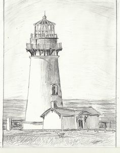 other version: [link] Yaquina Head Lighthouse Drawing- Increased Shading Landscape Pencil Drawings, Pencil Art Drawings, Drawing Sketches, Sketching, Drawing Tips, Lighthouse Sketch, Lighthouse Painting, Line Drawing, Painting & Drawing