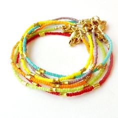 Beaded Stack Bracelet  Bright Colors & Gold by jewelrybycarmal, $20.00