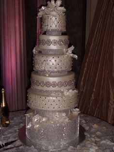 Beautiful bling wedding cake.