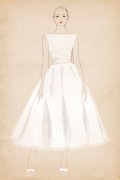 tea length at Matha Stewart Weddings by Sandra Suy - Pencil, Watercolor illustration. Fashion, Beauty