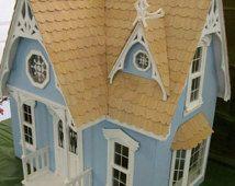 Beautiful Blue Victorian Dollhouse Handmade