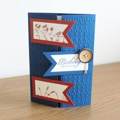 Men's Birthday Card, Blue & Brown, Countryside Theme £2.50