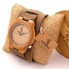 BOBO BIRD Analog Bamboo Quartz Wristwatch for Men with Wide Leather Strap
