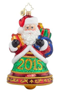 Christopher Radko 'Santa Clapper 2015' Bell Shaped Santa Ornament