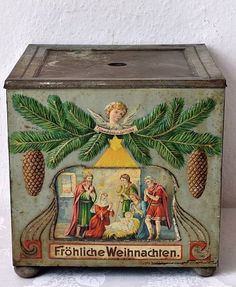 Antique German Feather Tree Stand... made of Tin...with Nativity Scene.