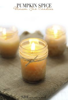 We can almost smell the pumpkin spice just by looking at these candles.  Get the tutorial at She Uncovered.   - CountryLiving.com