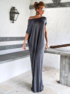 Dark Gray Open Back Bow Maxi Dress Kaftan / by SynthiaCouture. We can order this in any length we wish and replace the back bows very easily. Already has a slit on the side.