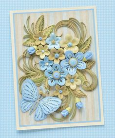 Lush Summer quilled card with blue stylized flowers - Birthday quilling card - Quilled greeting card - QuillyVicky Quilling Flower Designs, Quilling Butterfly, Arte Quilling, Quilling Comb, Paper Quilling Flowers, Paper Quilling Cards, Paper Quilling Patterns, Quilled Paper Art, Quilling Paper Craft