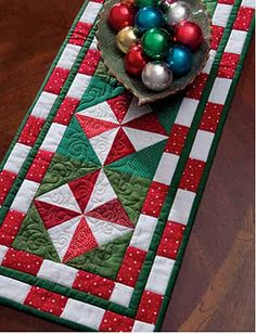 Peppermint Runner, Deck the Halls: Quilts to Celebrate Christmas (That Patchwork Place) Table Runner And Placemats, Quilted Table Runners, Quilted Table Toppers, Table Runner Pattern, Christmas Runner, Christmas Quilting, Christmas Quilt Patterns, Christmas Patchwork, Christmas Sewing