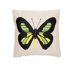 Butterfly Linen Pillow with Center Butterfly in Natural Colors