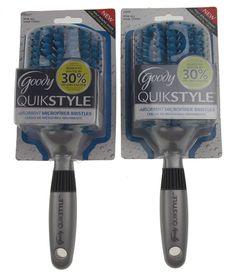 Goody QuikStyle Hair Brush Set 2 Silver Microfiber Absorbent Bristles Half Round #Goody