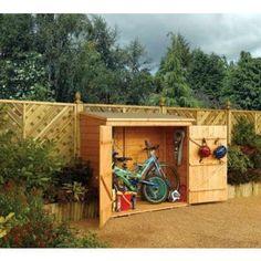 abri vélo bois 1.50 m² - 183 x 83 x 164 cm wallstore - Avec son aspect authentique et son style traditionnel, ce coffre de rangement en bois traité présente une belle finition…Voir la présentation