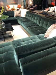 Large velvet sectional sofa with contrasting stitching from American Leather Furniture High Point Market Living Room Sofa Design, Living Room Designs, Living Room Decor, Living Room Seating, Living Rooms, Sofa Set Designs, Modern Sofa Designs, Large Sectional Sofa, Large Sofa