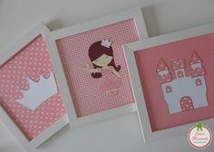 Trio de quadros Tema Menina Princesa www.facebook.com/cadamomentopersonalizados