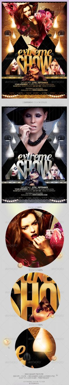 Extreme Show Flyer Template / $6. *** This flyer is perfect for the promotion of Club Parties, Shows, Events, Musicals, Festivals, Concerts or Whatever You Want!. ***
