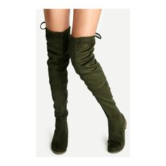 SheIn(sheinside) Olive Green Suede Lace Up Over The Knee Boots ($48) ❤ liked on Polyvore featuring shoes, boots, green, suede thigh-high boots, army green boots, thigh boots, over knee boots and over-the-knee lace-up boots