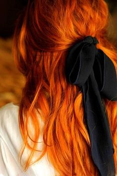 Red hair with black #bow