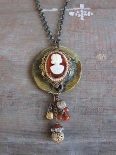 Vintage Escutcheon & Cameo Necklace by BelleVia on Etsy, $52.00