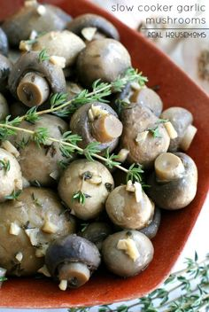 Slow Cooker Garlic Mushrooms are sure to become one of your must makes recipes!