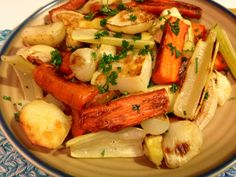 Roasted Root Vegetables: used sweet potato, potato, celery, and small onions too.