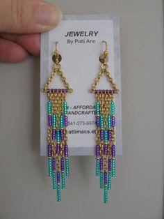 Seed Bead Earrings - Modern Native American Style - Purple/Aqua.