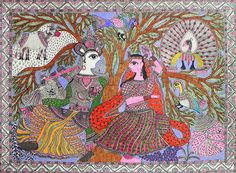 Radha Krishna with Animals - Folk Art Paintings (Madhubani Folk Art on Paper - Unframed) Madhubani Art, Madhubani Painting, Saree Painting, Silk Painting, Indian Folk Art, Krishna Painting, India Art, Outline Drawings, Indian Paintings