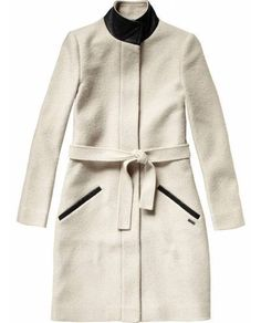 Long wool coat with leather collar and trim | Scotch & Soda