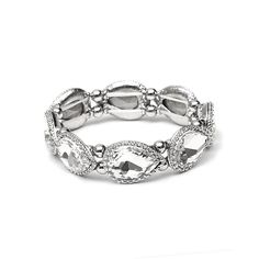 Mariell Textured Silver Frame Crystal Pears Stretch Bracelet 4327b-s. Mariell…