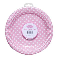 paper plate pink 23cm pack 10