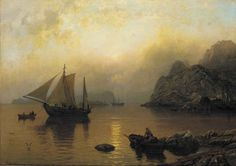 Fishing Party At Sunrise Artwork By Hans Fredrik Gude Oil Painting & Art Prints On Canvas For Sale Canvas Art Prints, Oil On Canvas, Classic Sailing, Realistic Paintings, Traditional Paintings, Cool Landscapes, Cool Artwork, Landscape Art, Dahlia