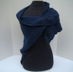 Crocheted midnight blue shawl with moss by BearMtnCrochet on Etsy, $50.00