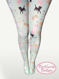 Kawaii Cat Tights Fairy Kei Cat Tights Pastel Cat Stockings Kitten Kitty Pattern Size XS Through 3XL