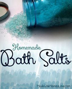 Homemade Coarse Bath Salt:  1 Cup Epsom Salt, 1/2 Cup Ice Cream Salt, 15-30 drops of any essential oil , 1-4 drops of Food Coloring (optional)  Add all the ingredients into a bowl and stir well. Then, go fill the bathtub because it is done!