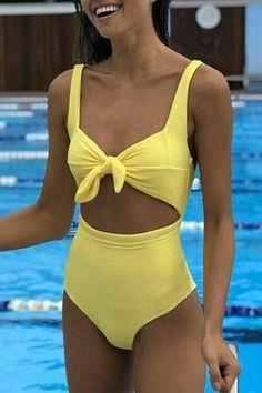 Venidress Knot Lemon One-piece Swimwears - Bra and Bikini Fashion Best Swimwear, Summer Swimwear, One Piece Swimwear, Swimwear Fashion, Bikini Swimwear, Summer Bathing Suits, Cute Bathing Suits, Summer Suits, Bathing Suits One Piece