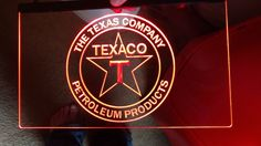 Texaco gasoline and oil red led lighted etched sign