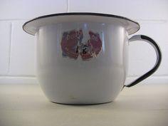 Vintage Duroware Enamelware Kitchen Utility Pot w/ Handle Prim Country Cottage #Country #Duroware