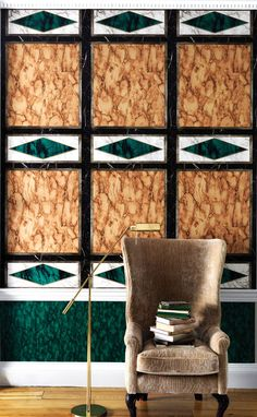 Kershaw Panel by Nina Campbell - Malachite - Mural : Wallpaper Direct Osborne And Little, Nina Campbell, Stone Wallpaper, Wallpaper Direct, Modern Wall Decor, Wall Treatments, Malachite, Designer, Interior Design