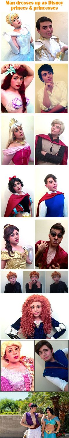 Man dresses up as Disney princes and princesses
