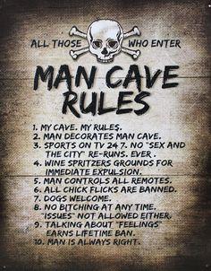 Man Cave Rules Metal Sign - Humorous Tin Sign - Man Cave Decor