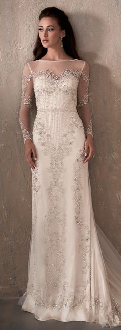 Long sleeved bided Wedding Dress by Adrianna Papell Platinum | @HouseofWuBrands #AdriannaPapellPlatinum #AdriannaPapell #HouseofWu