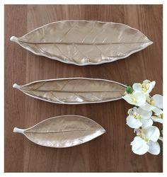 Keramik Schalen Blatt weiß/gold von HÜBSCH Home Interior & Design