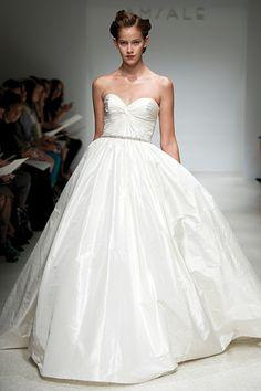 Mackenzie by Amsale Bridal, bridal gown, wedding gown, silk, strapless, ruched bodice, sweetheart neckline, natural waist, ballgown